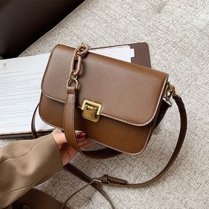 Small Women Shoulder Bag PU Leather Vintage Sling Bag Solid Color Ladies Purses and Handbags Crossbody Side Bags Tassen Dames