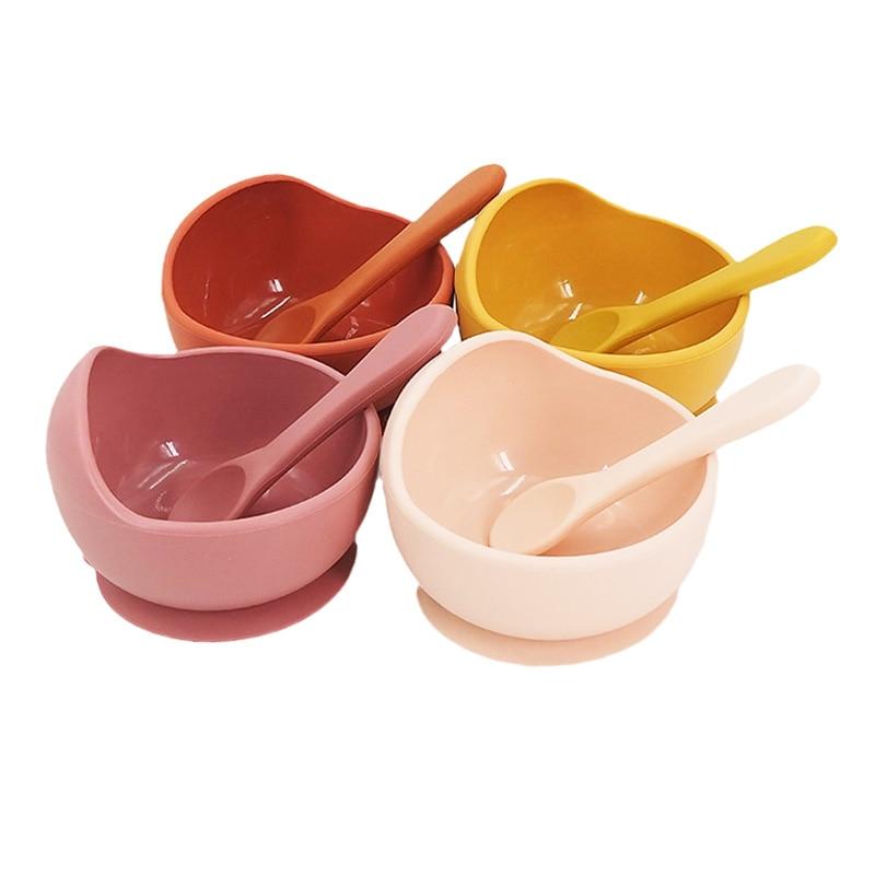 Chenkai 5Set 16 Color Baby Feeding Silicone Bowl Spoon Food Grade Anti-flip Suction Infant Tableware Waterproof Unbreakable Bowl