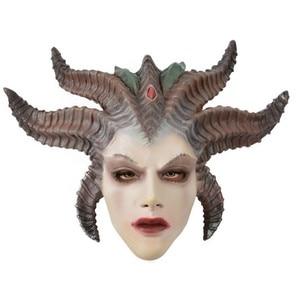 Game Diablo IV Lilith Devil Mask Cosplay Horror Demon Vampire Latex Masks Helmet Halloween Party Costume Props
