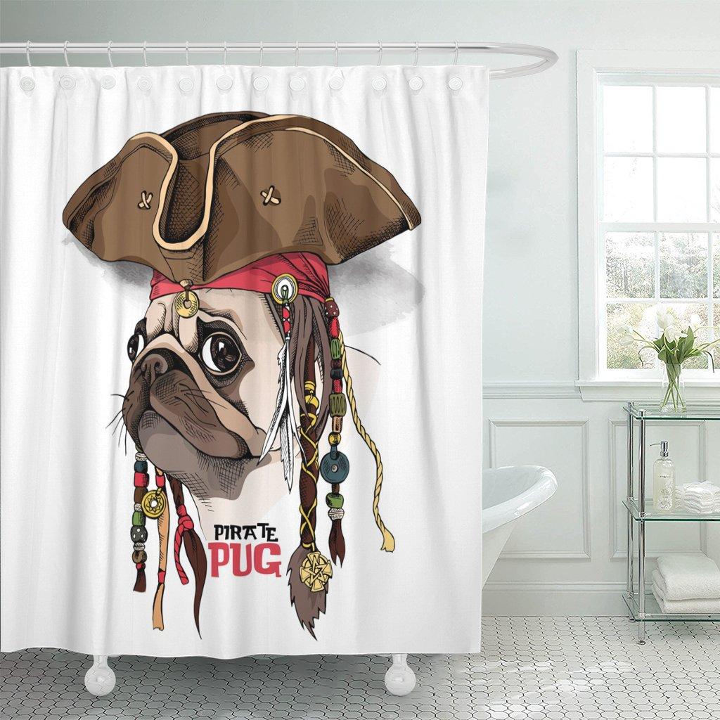Perro marrón retrato de Pug en sombrero pirata Bandana Dreadlocks divertido cabeza ducha cortina poliéster 72x72 pulgadas Set con ganchos