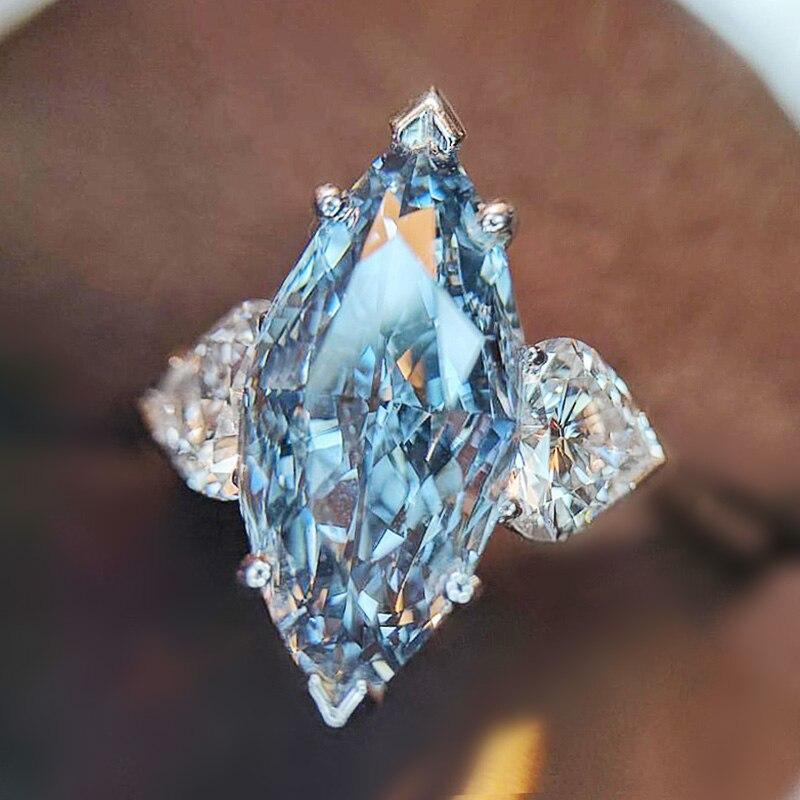 Huitan luz azul marquesa pedra com dois cristal coração zircão romântico feminino anel de noivado casamento festa moda jóias anel