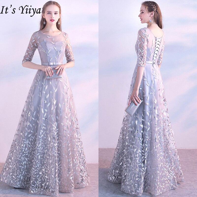 To Yiiya suknie wieczorowe 2019 moda O-Neck Lace Up piętro długość sukienki eleganckie pół rękawy aplikacje sukienki wizytowe LX326