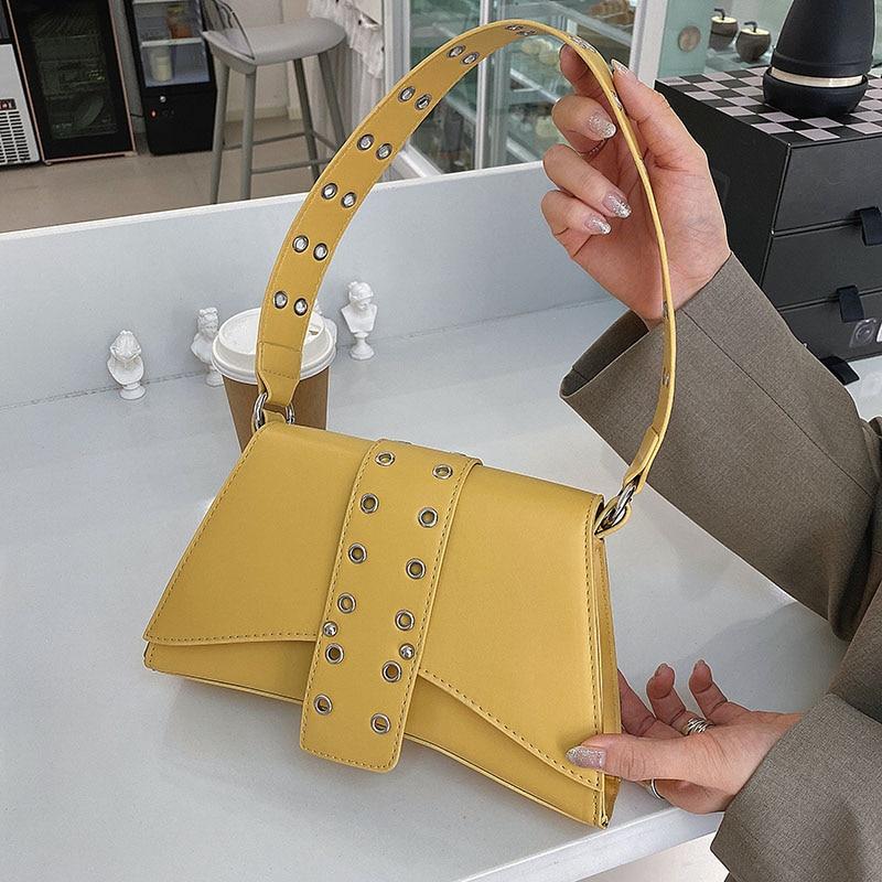 YANIGELAN-Bolso De hombro De cuero De moda para mujer, Bolso De diseñador...