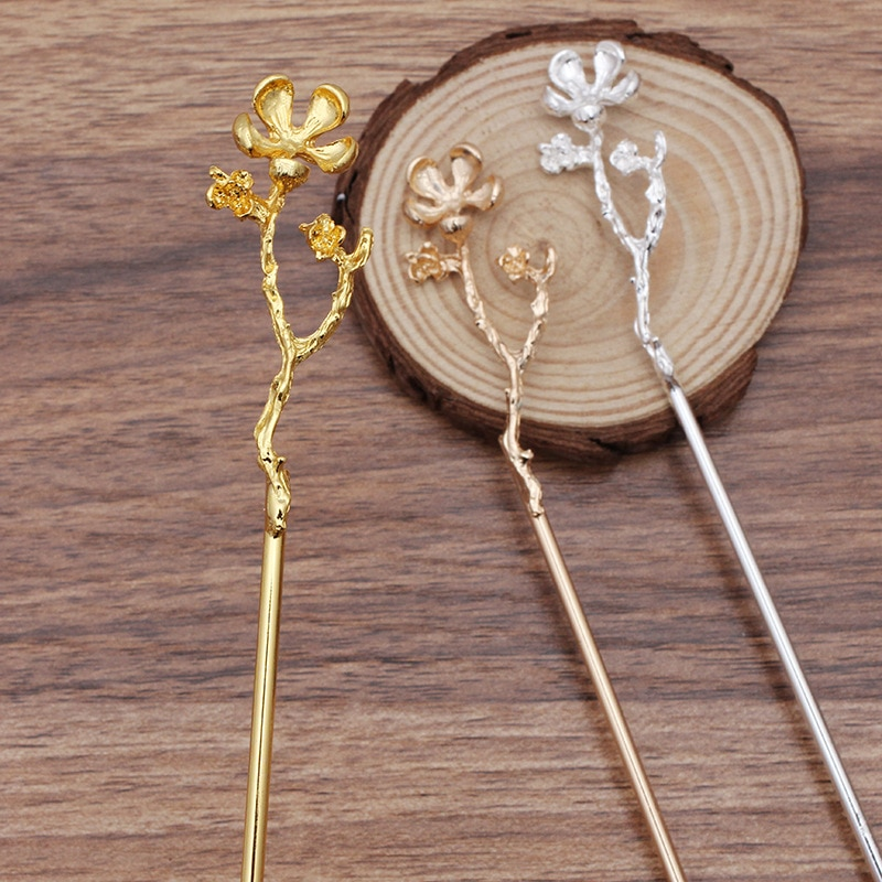 5 PCS 120mm Metal Alloy KC Gold/Gold/Silver color Branch Flowers Hair Sticks Base Setting For Women Hairwear Decoration