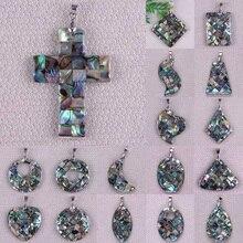 Naturel nouvelle-zélande ormeau coquille perle pendentif bijoux de mode pour femme cadeau S050-S066