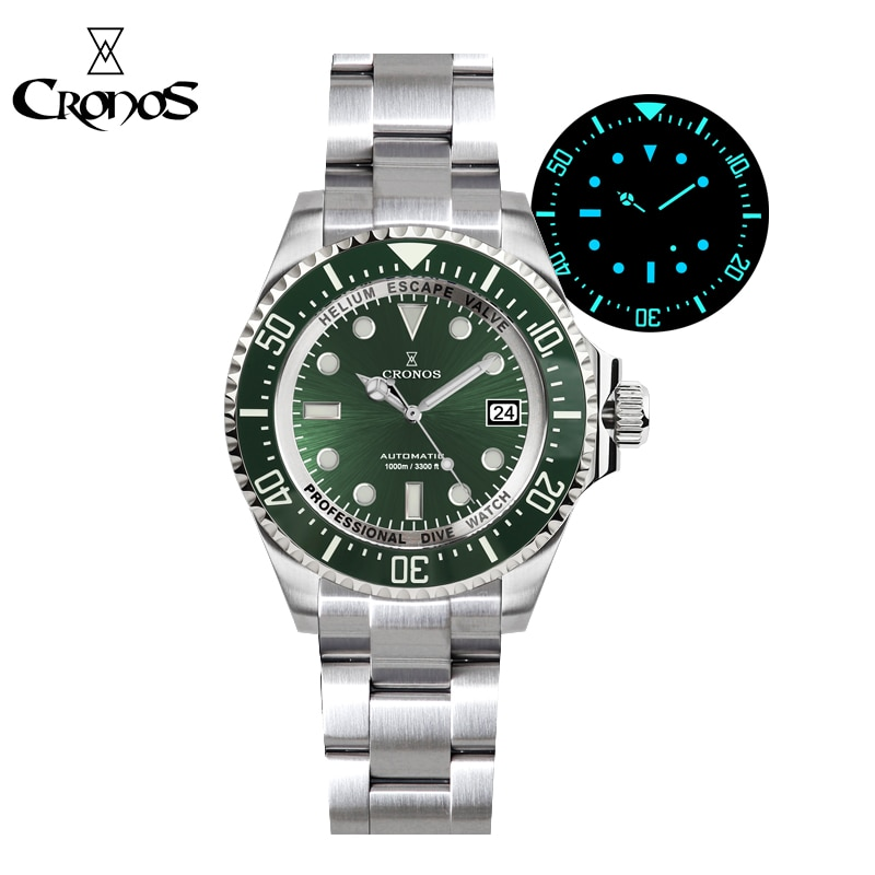 Cronos Automatic Diving Watch Stainless Steel 1000 Meters Water Resistance Professional Diver