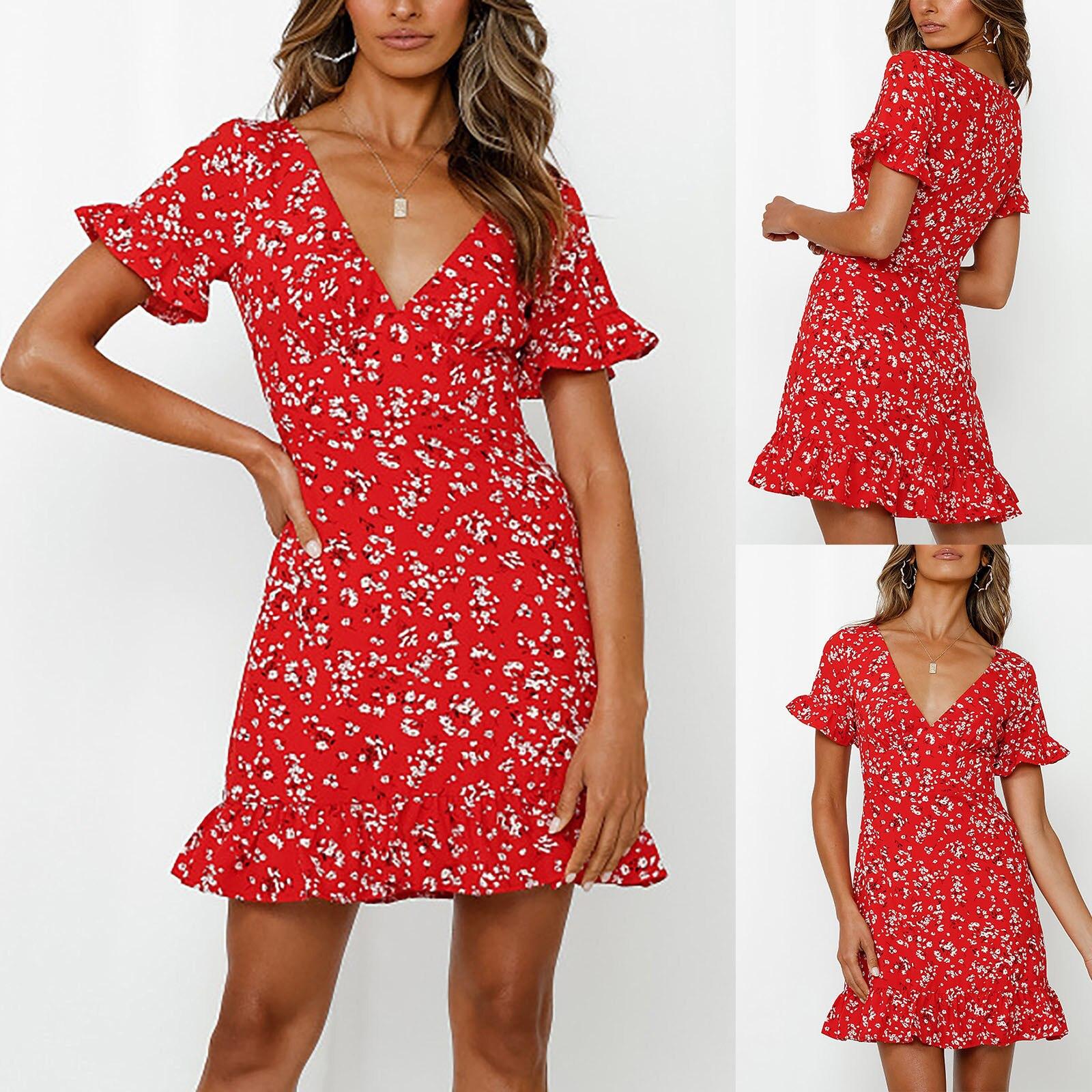 S-XL красный романтическое платье с цветочным рисунком для женщин новые летние 2021, с короткими рукавами, с принтом хеджирования Повседневные ... пуловер laredoute с короткими рукавами с бантиком сзади xl красный