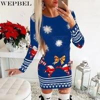 wepbel dress womens casual printed christmas slim dress autumn fashion long sleeve o neck high waist dress