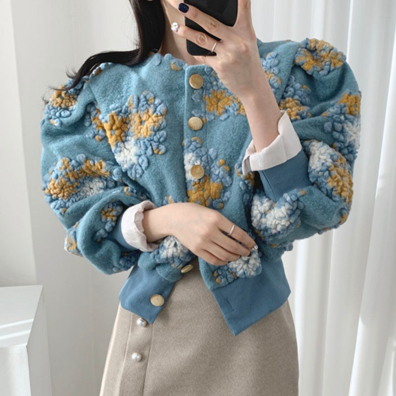 Korean Lantern Women Knit Sleeve Chic Autumn And Winter Three-dimensional Flower Plush Round Neck Si