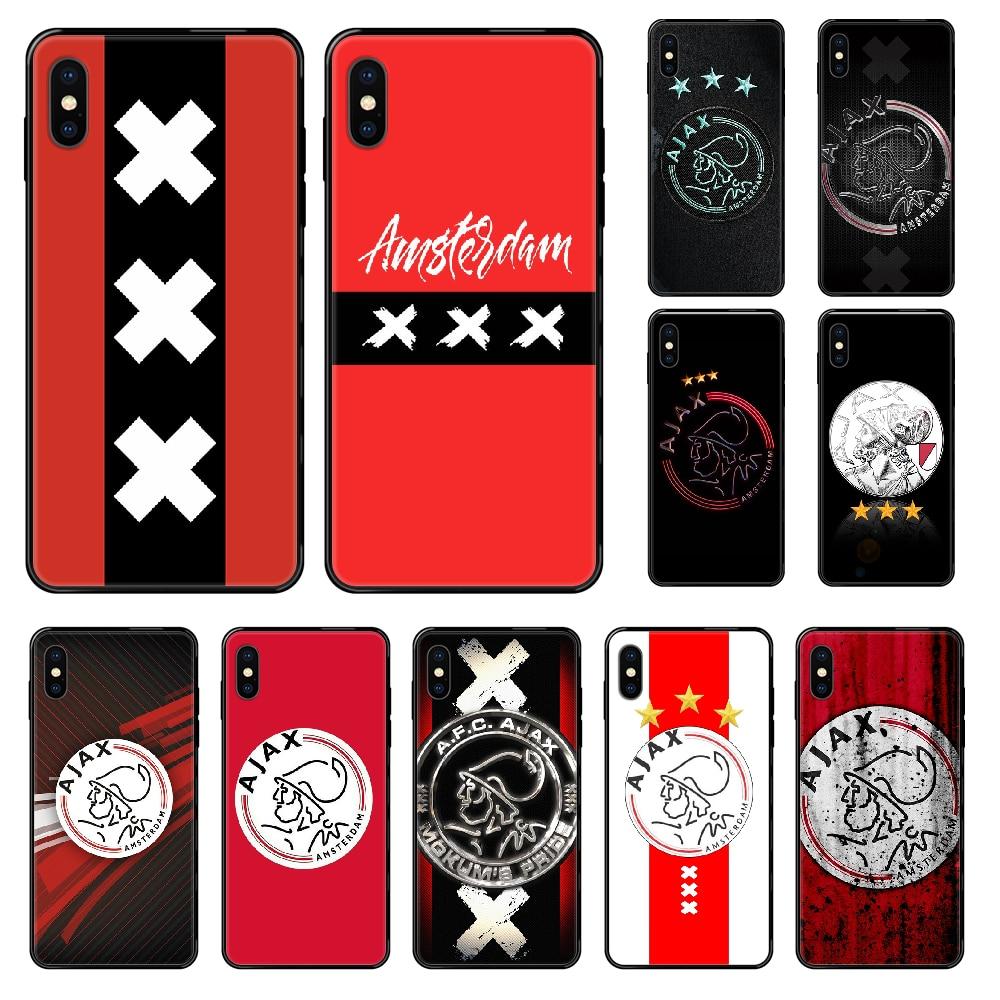 Ajax Team Amsterdam funda de teléfono para iphone 4 4s 5 5S SE 5C 6 6S 7 8 plus X XS XR 11 PRO MAX 2020 negro suave cubierta de silicona