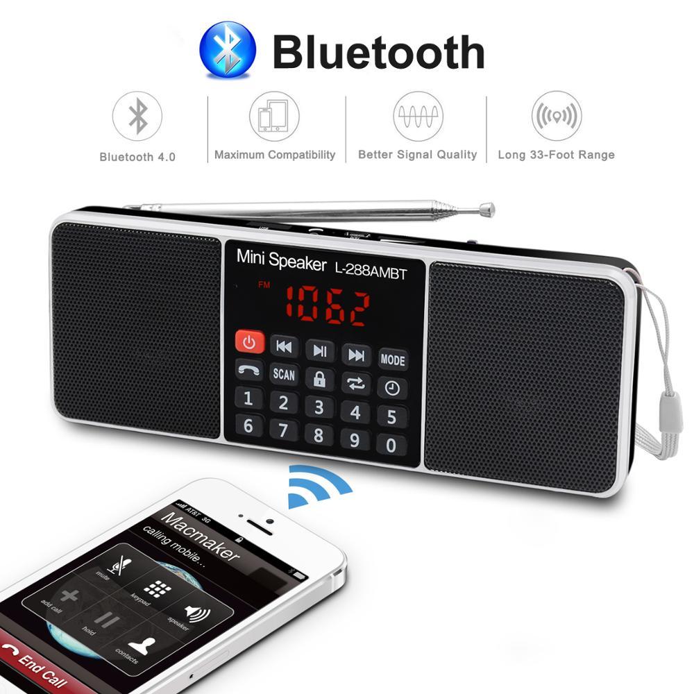 Hifi Klar Tragbare Radio AM FM Bluetooth Lautsprecher Stereo MP3 Player TF/SD Karte USB Stick Freisprechen Anruf LED display Lautsprecher