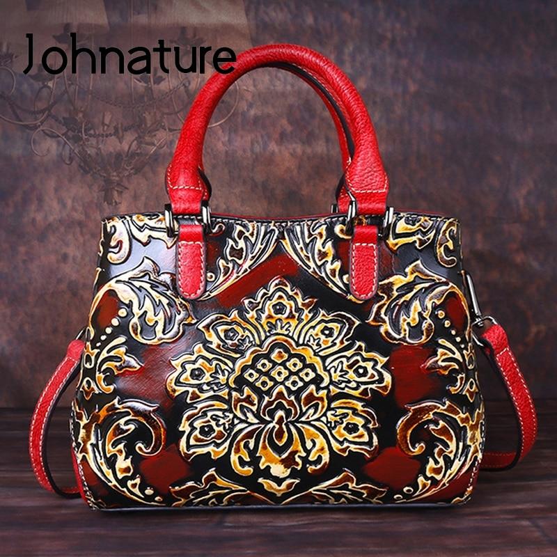 Johnature عالية الجودة جلد طبيعي 2021 جديد الفاخرة حقائب النساء أكياس اليدوية النقش خمر الكتف و Crossbody أكياس