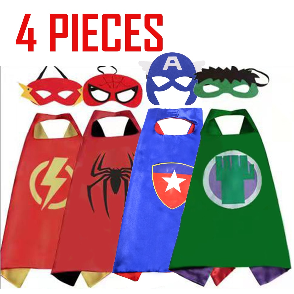 Kids Superhero Capes Haloween Costumes Double Satin Solid Anime Costume Birthday Party Favors Cospla