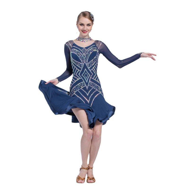 L-17198 طفل اللاتينية الرقص العروض فستان الكبار ، فستان طويل الأكمام الرقص الثور رامبا شرابة