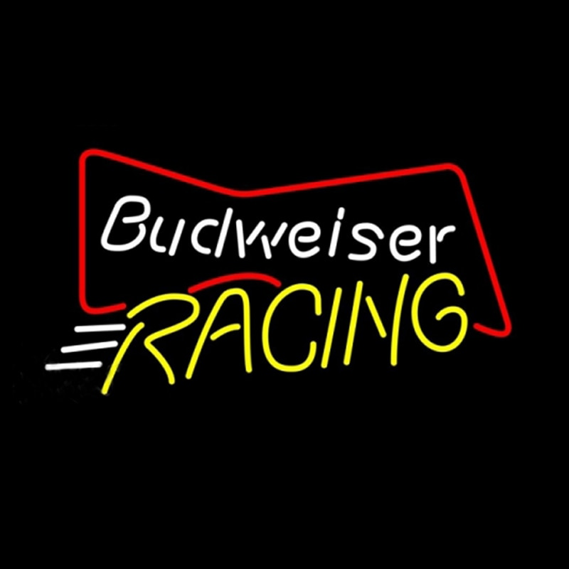 Budweiser-علامة سباق نيون ، مصنوعة يدويًا ، أنبوب زجاجي حقيقي ، شريط بيرة ، KTV ، متجر ، حانة ، شركة ، منزل ، 17 بوصة × 14 بوصة