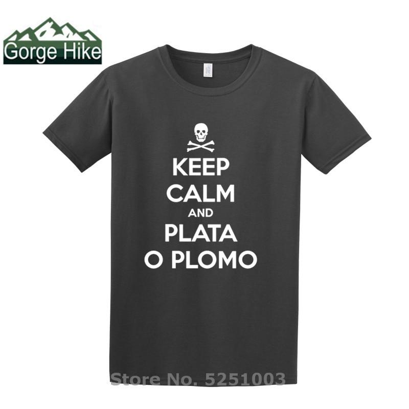 Camiseta unisex con diseño de Calavera, Keep calm y Plata O Plomo,...