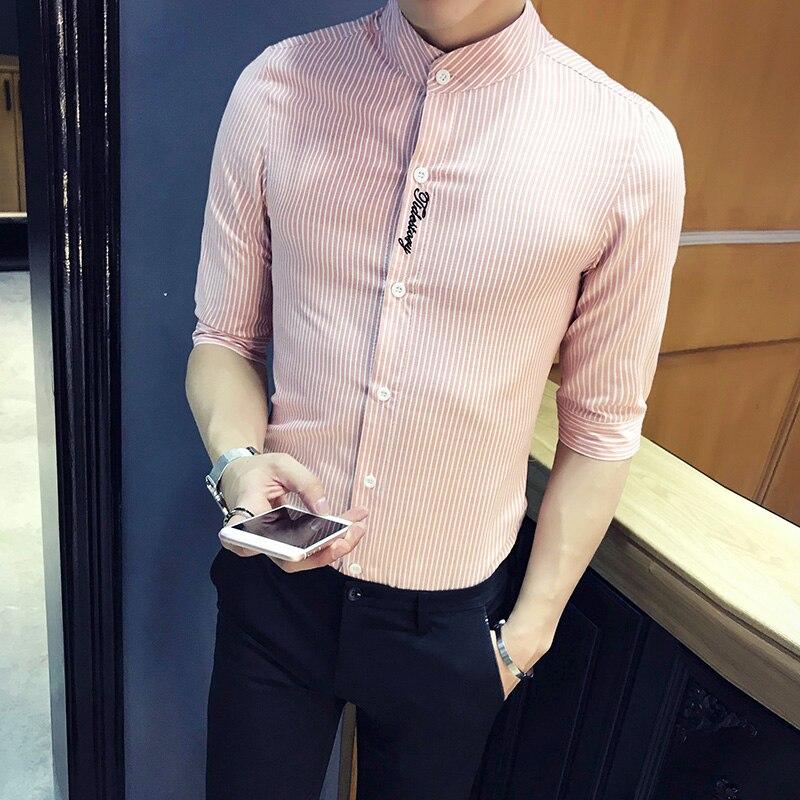 2020 Summer Half Sleeve Striped Shirts Men Fashion Letter Embroidery Slim Fit Men Casual Shirt Simple Streetwear Blouse Men 5XL