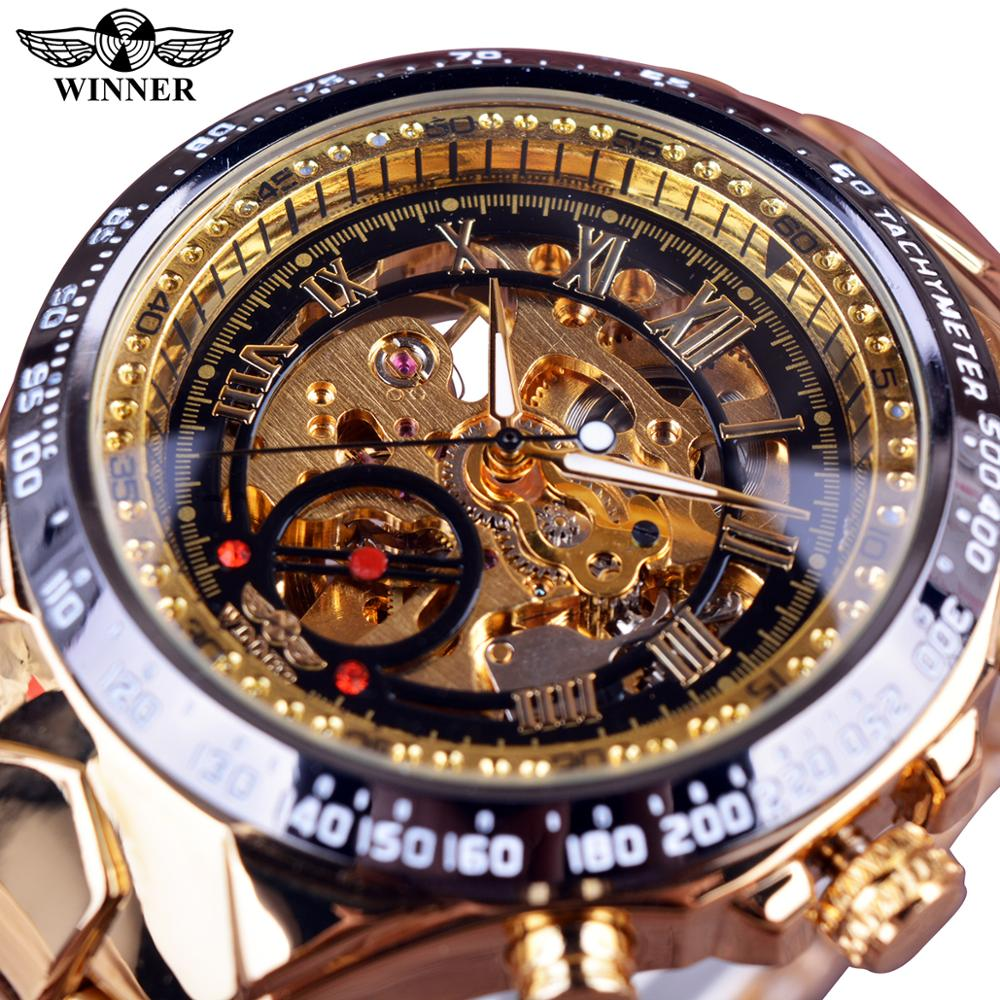 Часы Winner, механические, спортивные, дизайнерские, с золотым ободком