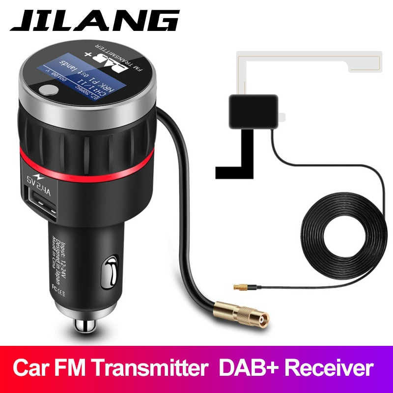 Jilang автомобильный радиоприемник DAB + радио тюнер, цифровой приемник вещания с fm-трансмиттером, конвертер, адаптер для подключения и воспроизведения, USB зарядное устройство