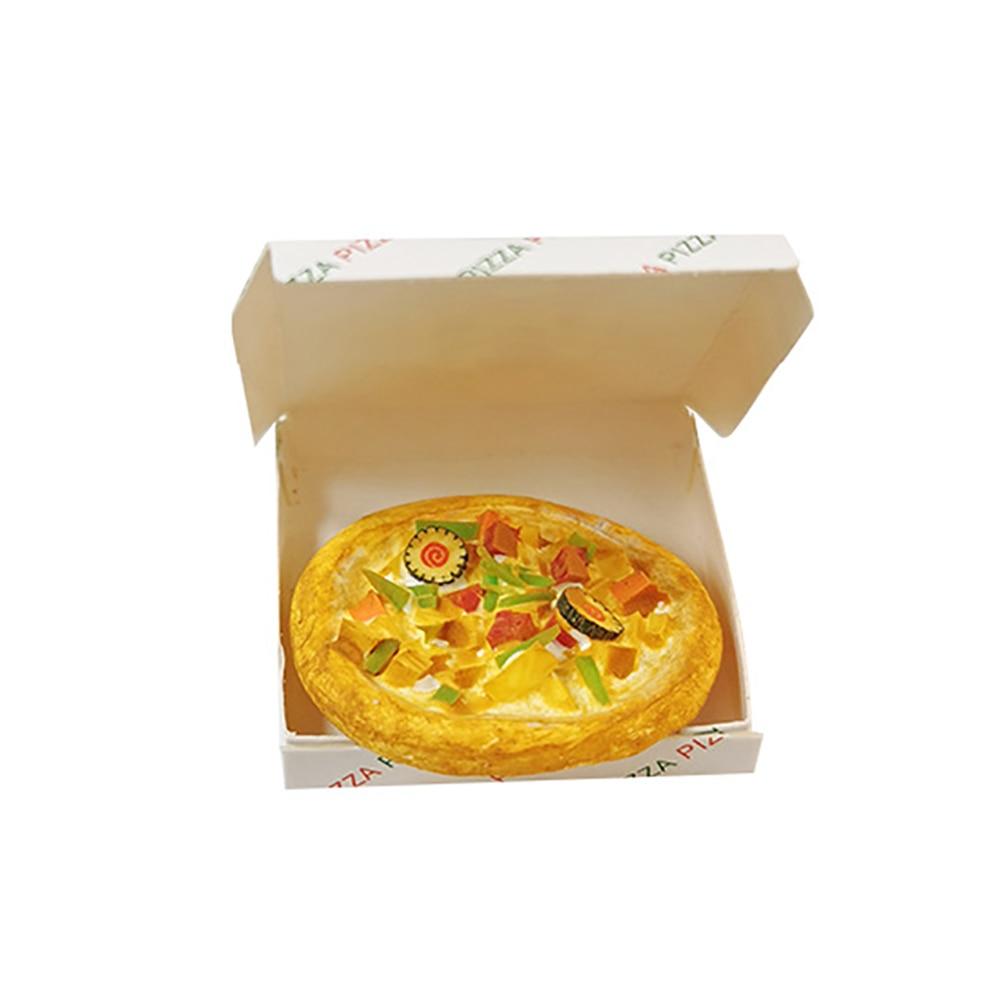1/12 casa de muñecas accesorios en miniatura Mini Pizza de resina con caja comida de imitación modelo juguetes para la decoración de casa de muñecas