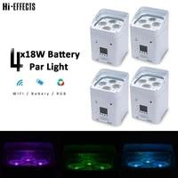 4pcs 4x18w battery par light wireless dmx battery powered led par light rgbwa uv 6in1 dj disco party stage lighting equipment