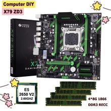 HUANANZHI X79-ZD3 LGA2011 carte mère bundle en vente double M.2 emplacements SSD NVMe/NGFF CPU Xeon E5 2650 V2 RAM 32G(4*8G) 1866 REG ECC