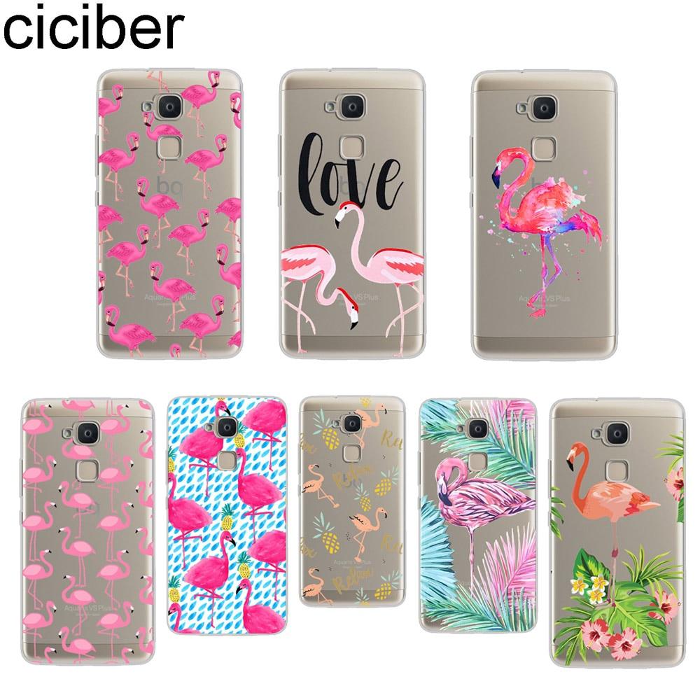 ciciber For BQ Aquaris C U2 U X5 V VS X2 X Lite Pro Plus E5 s E4.5 M5 M5.5 M4.5 Back Cover Soft TPU Phone Cases Pink Flamingo