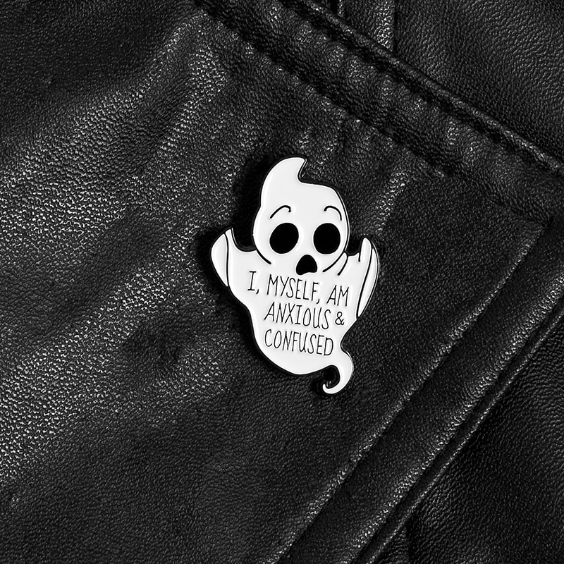 XEDZ Anxious Ghost Metal Enamel Pin Ethereal Devil Jewelry Gothic Symbol Collection Shirt Punk Lapel Button Brooch Accessory  - buy with discount