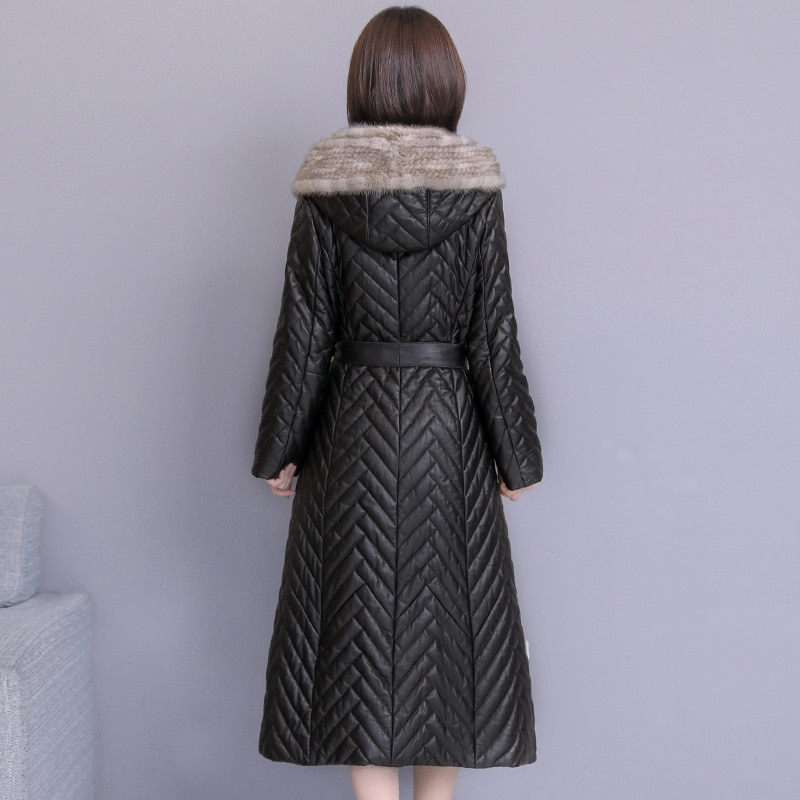 2021 Winter Leather Jacket Women Sheep Down Bring Cap Chaqueta Cuero Mujer Slimming Dames Jassen  Black Elegant  Veste Femme enlarge