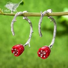 Lotus eğlenceli gerçek 925 ayar gümüş kırmızı mercan el yapımı tasarımcı güzel takı narin oyma çiçek damla küpe kadınlar hediye için