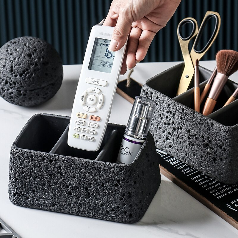صندوق تخزين خرساني لسطح المكتب ، تصميم كلاسيكي ، مع جهاز تحكم عن بعد ، للهاتف الخلوي ، تنظيم العناصر الصغيرة