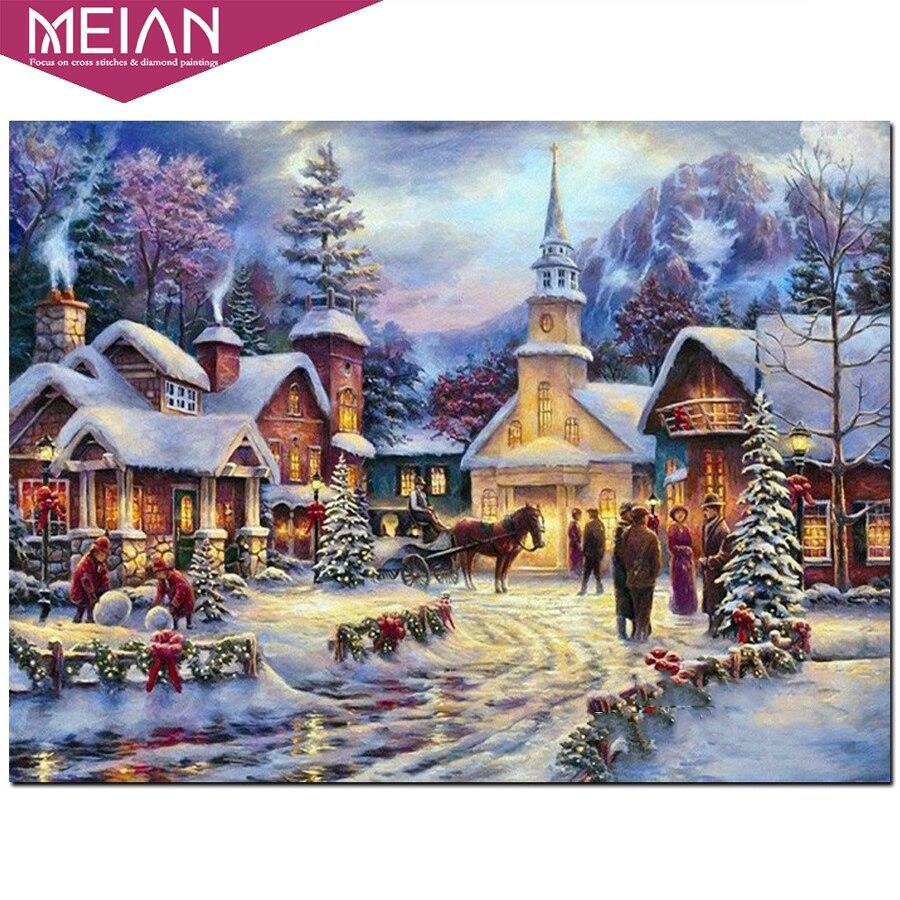 2020 MEIAN village bordado de diamantes invernal 5D cuadro de diamantes de punto de cruz mosaico de diamantes patrón de pegatinas de decoración