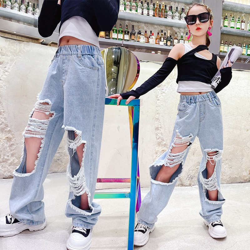 Штаны для девочек весенние рваные джинсы для девочек подростков, узкие брюки с дырками повседневные джинсы для школьников детские брюки Джинсы    АлиЭкспресс