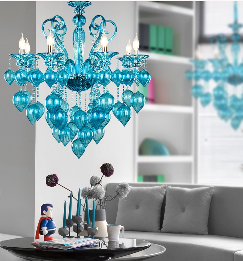 Lámpara de araña italiana de cristal Murano con burbujas, lámpara moderna, Arte Creativo azul, Araña de cristal púrpura