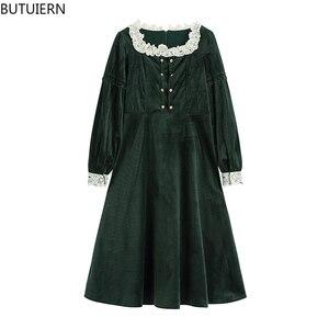 Women's Dress Vintage Green Ruffle Spliced Square Collar Retro Mori Girl French Dresses Elegant Korean Mori Girl Vestidos Mujer