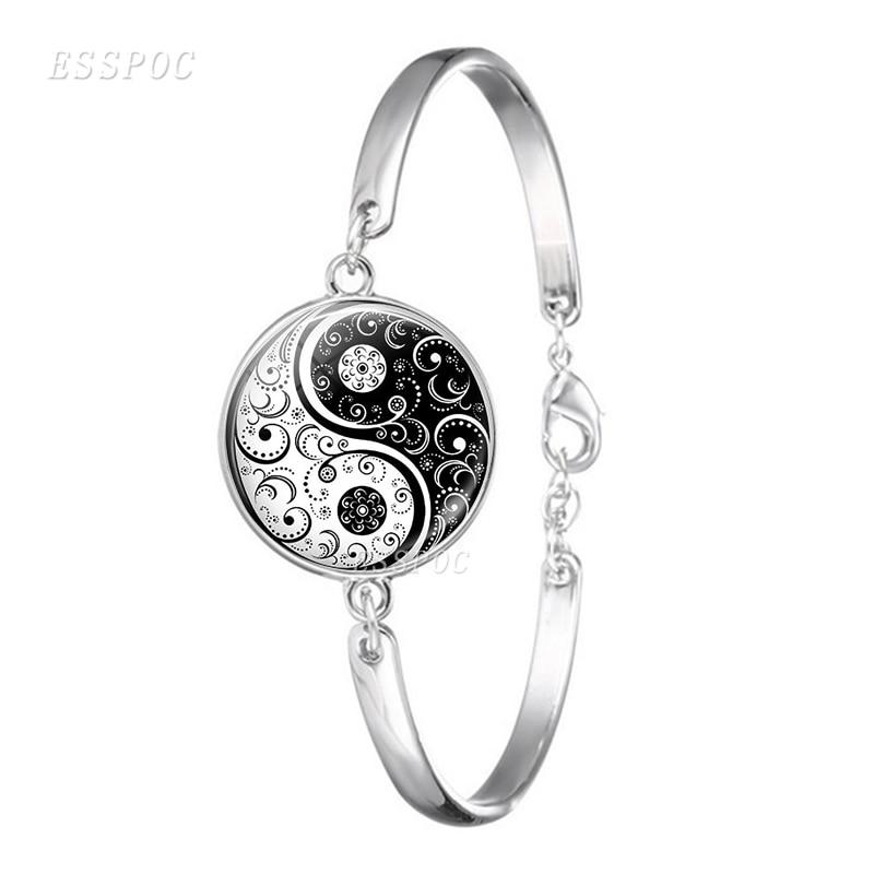 Yin Yang черно-белые браслеты Тай Чи бижутерия со стеклянными кабошонами браслеты для любителей йоги подарок