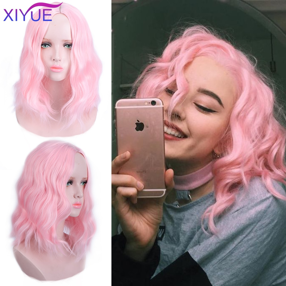 Peluca sintética de 35cm de pelo corto rizado rosa claro de Lolita de Anime para fiesta Cosplay de fibra resistente al calor pelo postizas completas diarias
