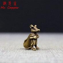 Antique Solid Bronze Lucky Rat Statue Keychain Pendants Copper Zodiac Mouse Money Bag Figurines Ornaments Desk Feng Shui Decor