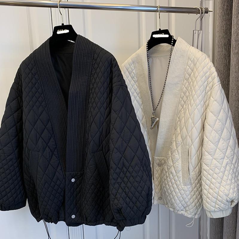 معطف نسائي قطني ، مقاس كبير ، فضفاض ، نمط كوري ، أكمام طويلة ، ياقة على شكل V ، ملابس شتوية
