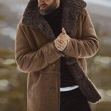 Mens Solid Coat Winter Thicken Warm Jacket Vintage Coat Outwear Windproof Chamarra Hombre Fleece Veste Homme Men Parkas Clohtes