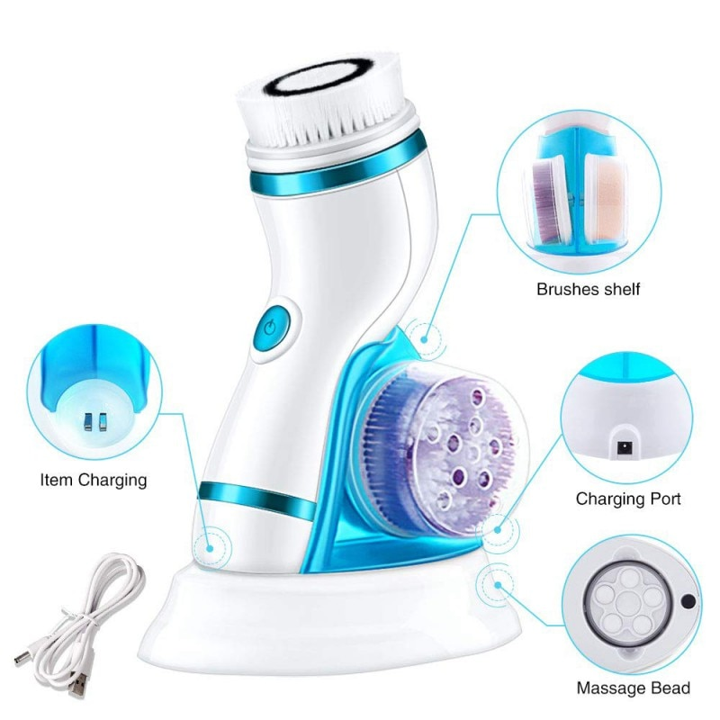 5 in 1 Electric Facial Cleanser Wash Face Cleaning Machine Skin Pore Cleaner Body Cleansing Massage Mini Beauty Massager Brush summer style electric facial pore cleaner 5 in 1 electric wash face machine body cleaning massage mini skin beauty brush