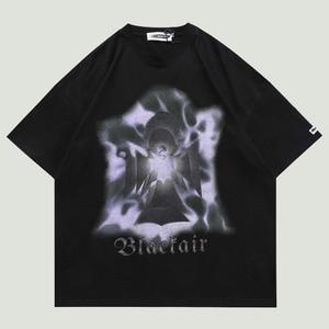 Hip Hop Oversize T Shirt Mens Letter Graphic Printing Tops 2021 Summer Harajuku Streetwear Short Sleeve Cotton Loose T-Shirts
