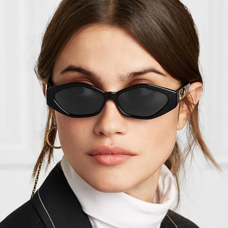 Ovalada pequeña gafas de sol para mujer hombre Retro marco de plastico...