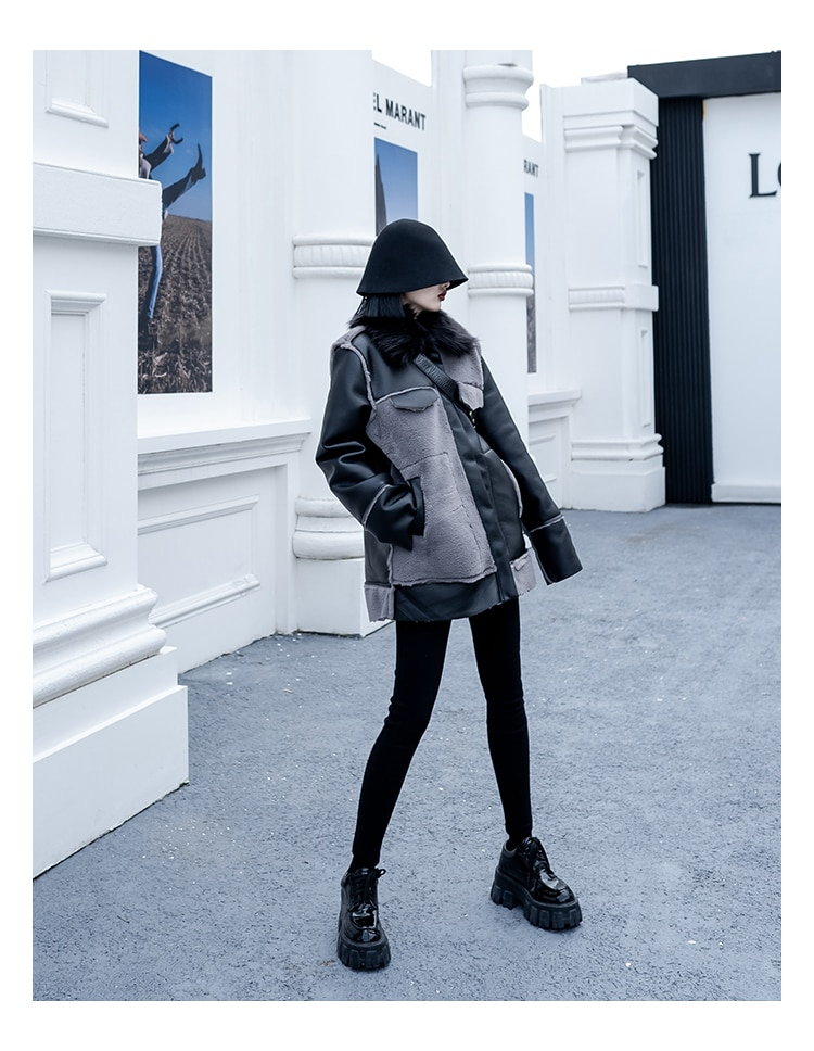 Motorcycle Coat fur all-in-one Jacket Women winter New Street clothing Leather Jacket women thick Motorcycle Clothing Female enlarge