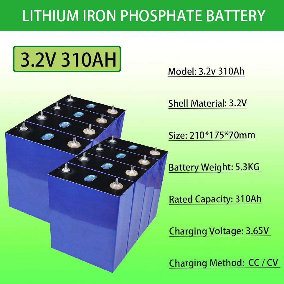 3.2 فولت 310Ah lifepo4 بطارية لتقوم بها بنفسك 12 فولت 24 فولت 310AH بطارية قابلة للشحن حزمة ل سيارة كهربائية RV نظام تخزين الطاقة الشمسية
