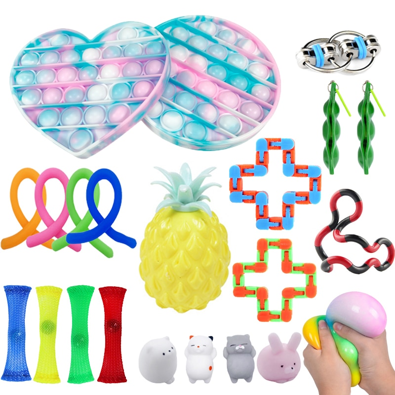 Fidget Sensory Toy Set Stress Relief Toys Box pack Autism Anxiety Relief Stress Bubble Fidget Sensor