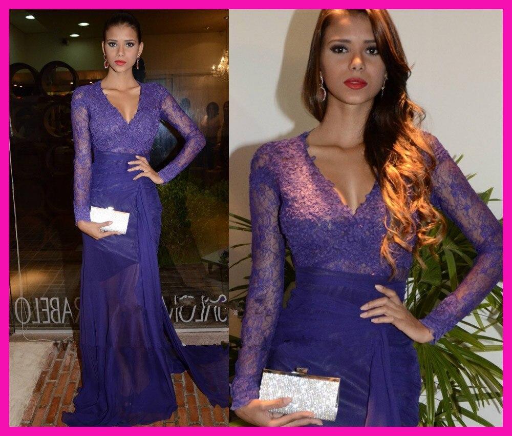 Robe de soiree abiye 2019 vestido formal Real Sexy púrpura puro encaje cuello en V transparente manga larga de gasa vestidos de graduación de noche