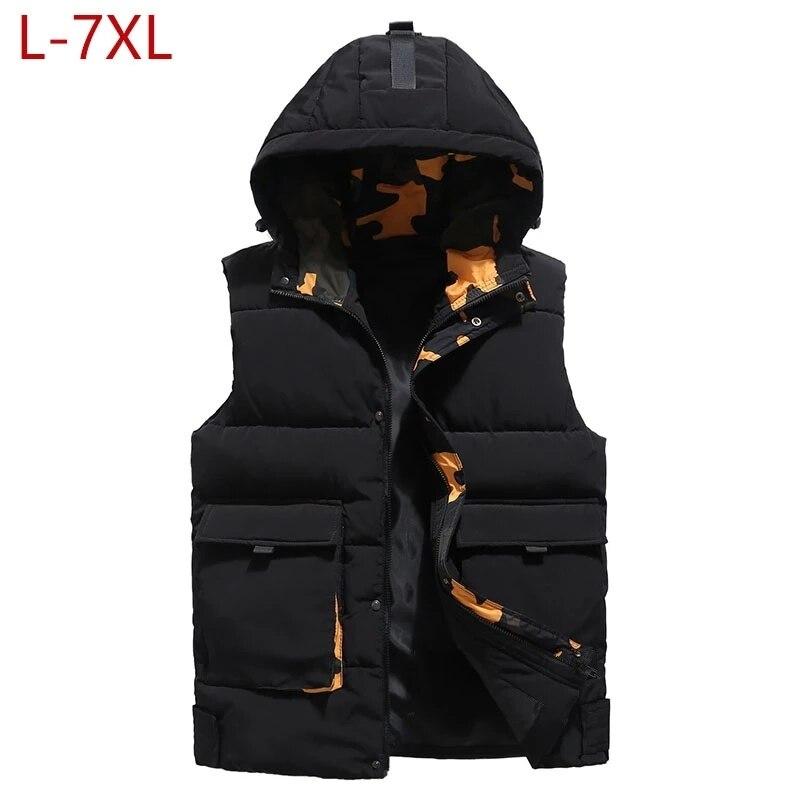 Мужской жилет большого размера, зимняя куртка без рукавов, пальто 2021, повседневный плотный теплый пуховой жилет с капюшоном, большие размер...