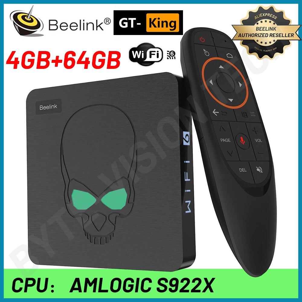 Beelink GT-King تي في بوكس أندرويد 9.0 Amlogic S922X 4G DDR4 64G EMMC الذكية Iptv فك التشفير واي فاي 6 المزدوج واي فاي 1000 متر LAN 4K وحدة التحكم