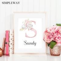 Персонализированный плакат с именем и буквами на заказ, холст с принтом для детской комнаты, настенная живопись, детское украшение для спал...